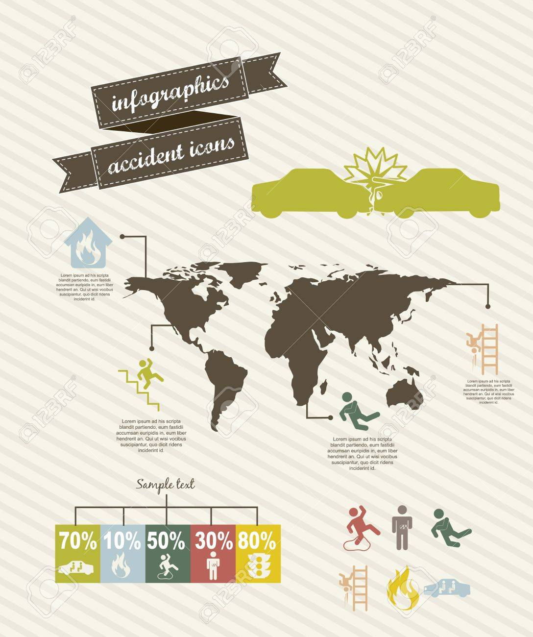 infographics of accident icons over beige background. vector illustration Stock Vector - 16702931