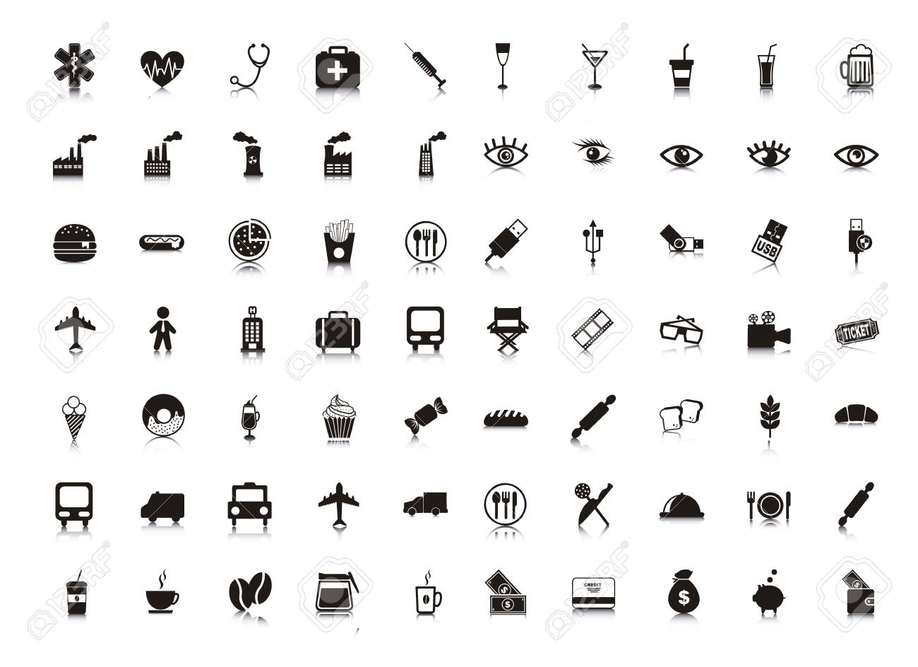 black silhouettes icons over white background. vector Stock Vector - 16702800