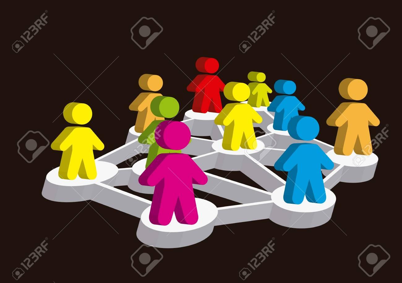 3d social network illustration,  colorful. vector illustration Stock Vector - 16701858
