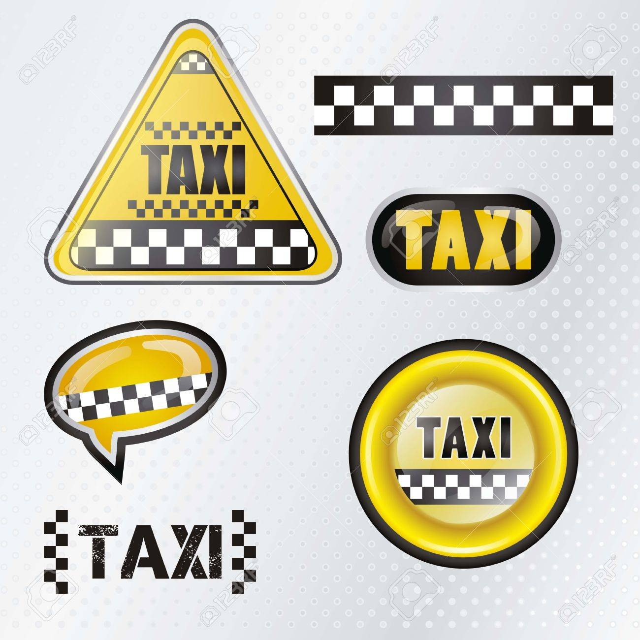 Taxi cab set symbols with silver background , vector illustration Stock Vector - 16703507