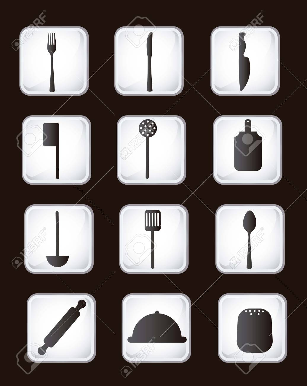 cutlery icons over vintage background. vector illustration Stock Vector - 16841098