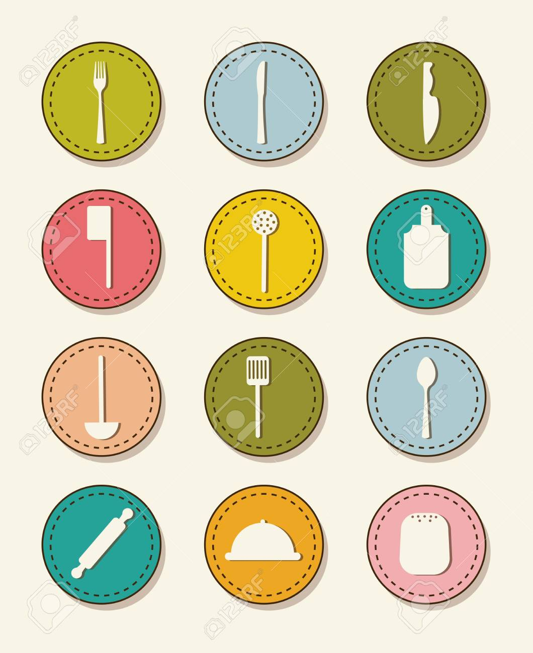 cutlery icons over beige background. vector illustration Stock Vector - 16841182
