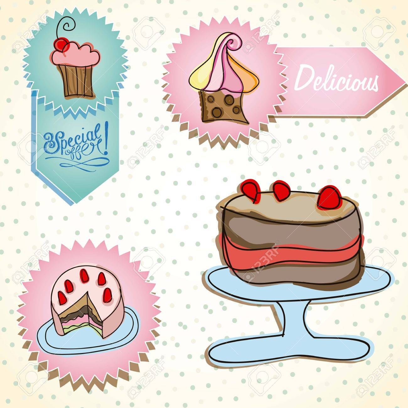 Cake Stamp Set Birthday Icons On Vintage Background Royalty Free