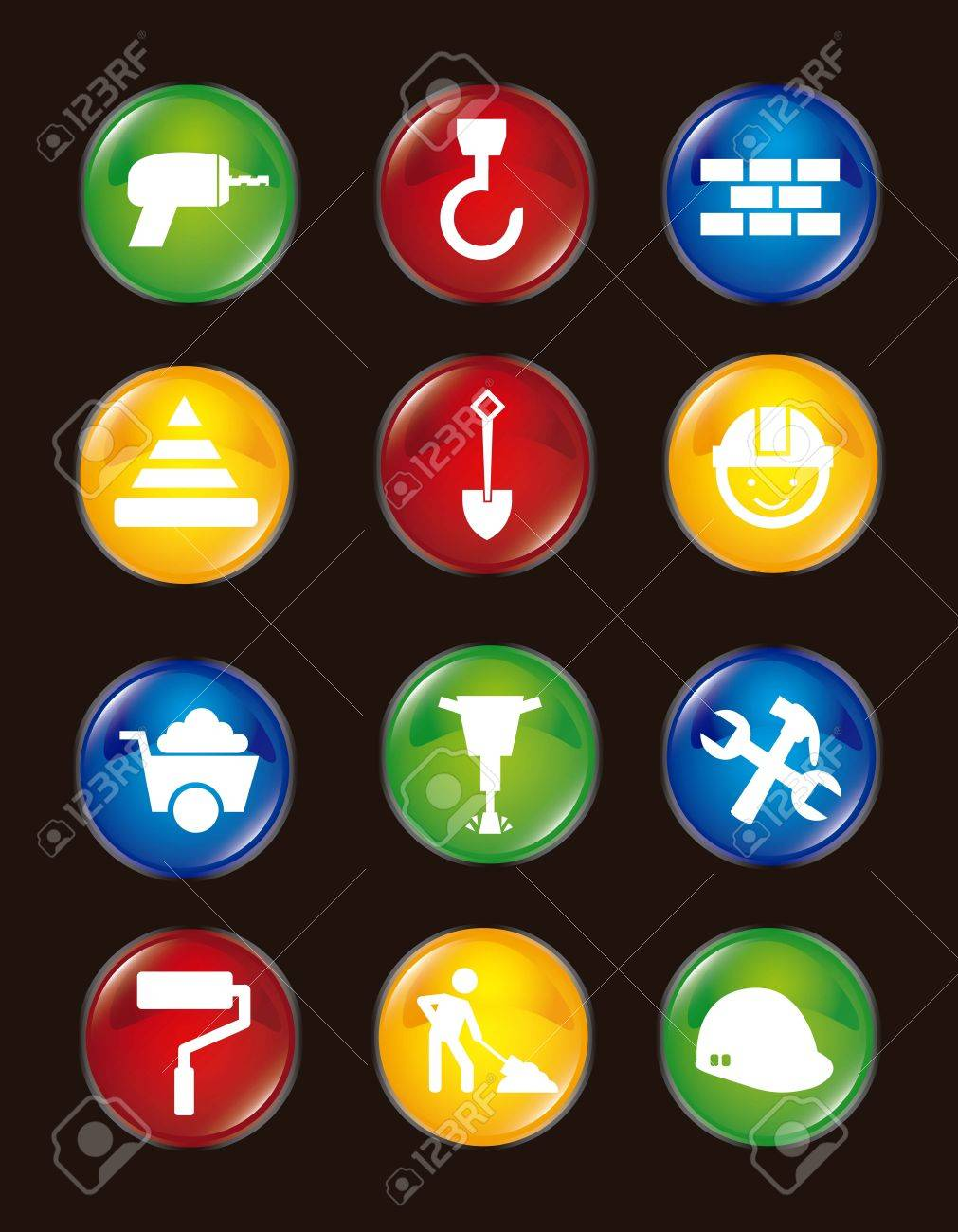 construction icons over black background. vector illustration Stock Vector - 16997704