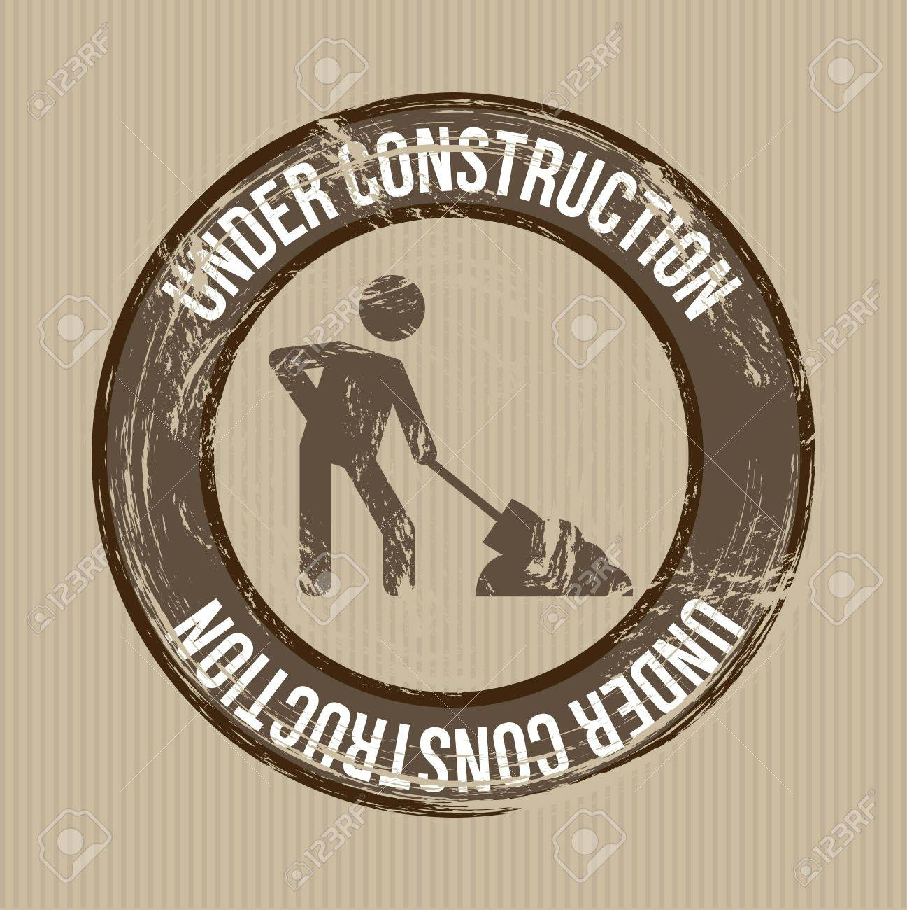 under construction sign over brown background. vector Stock Vector - 16997739