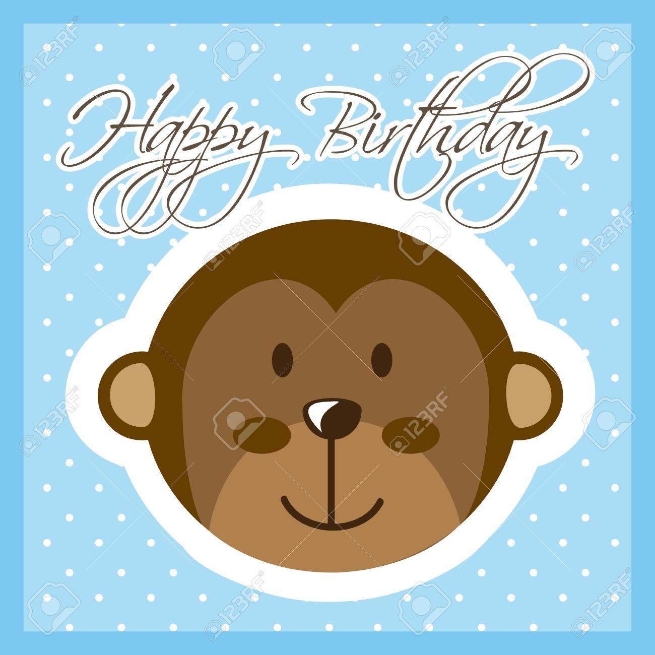 Happy Birthday Card With Monkey Vector Illustration Stock