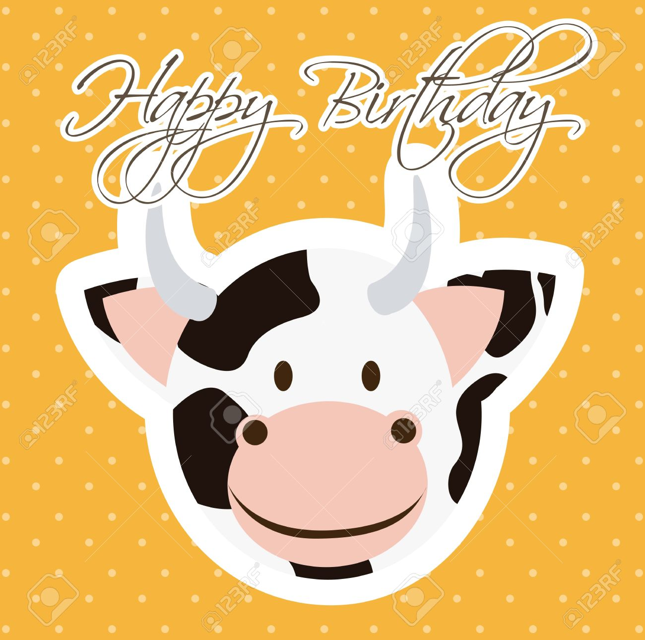 Bappy birthday card with cow cartoon vector illustration royalty bappy birthday card with cow cartoon vector illustration stock vector 16997310 bookmarktalkfo Images