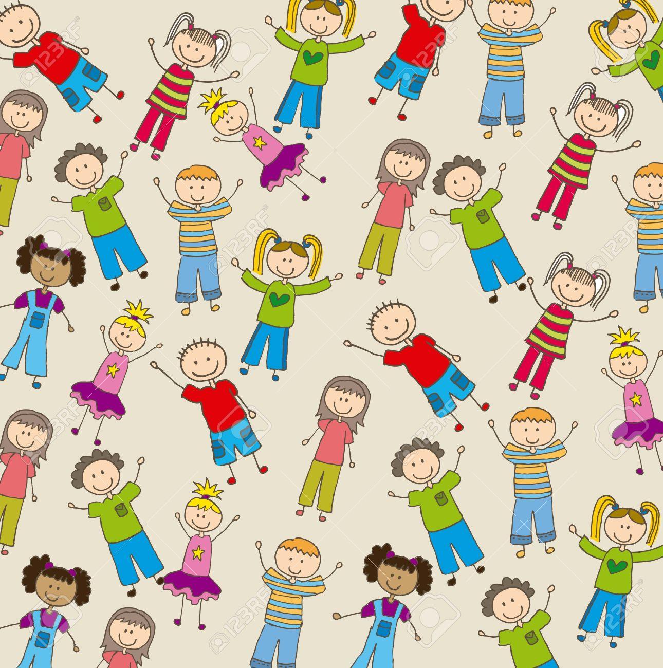 children drawing over beige background. vector illustration Stock Vector - 16997615