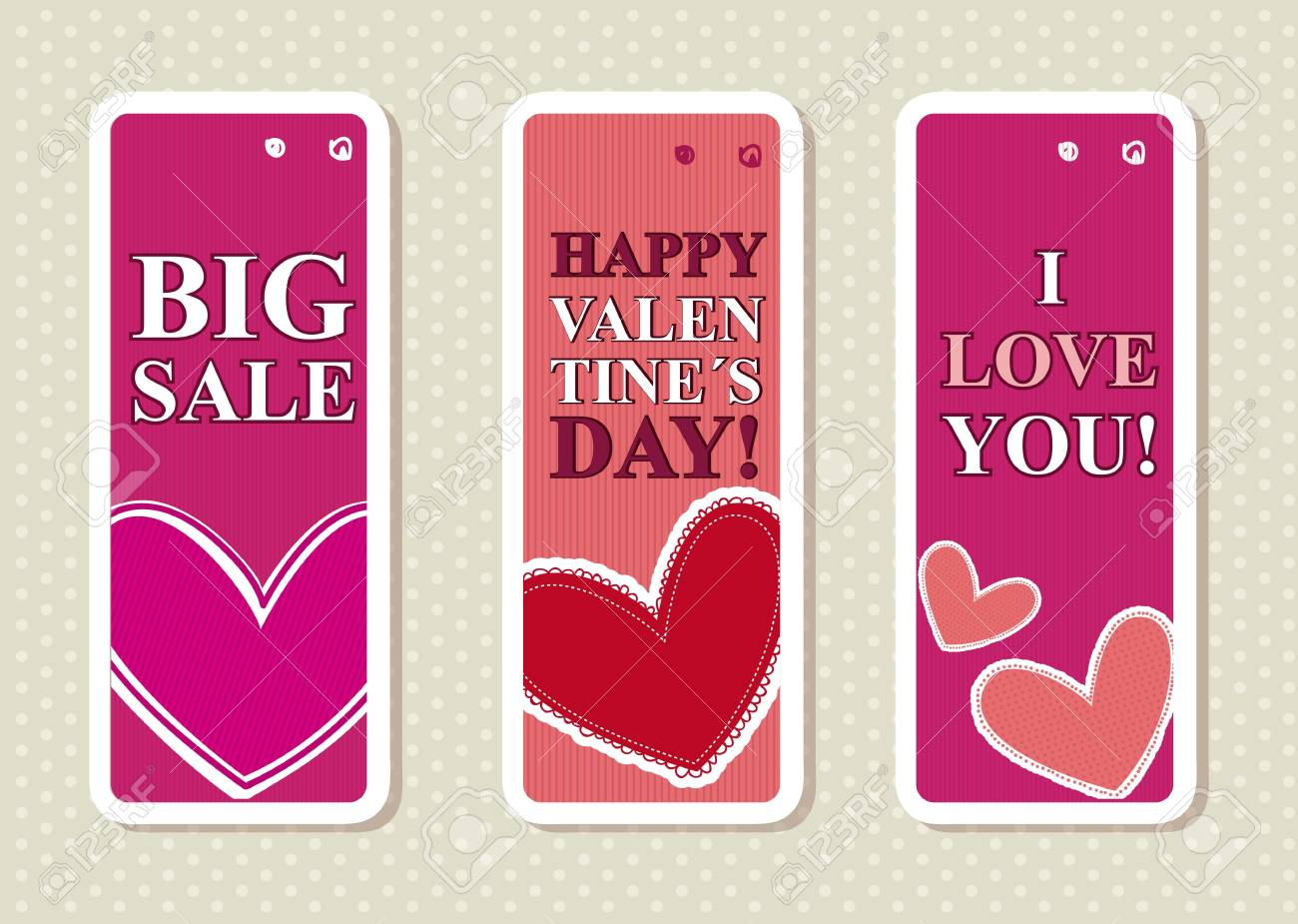 valentines day labels over beige background. vector Stock Vector - 16997664