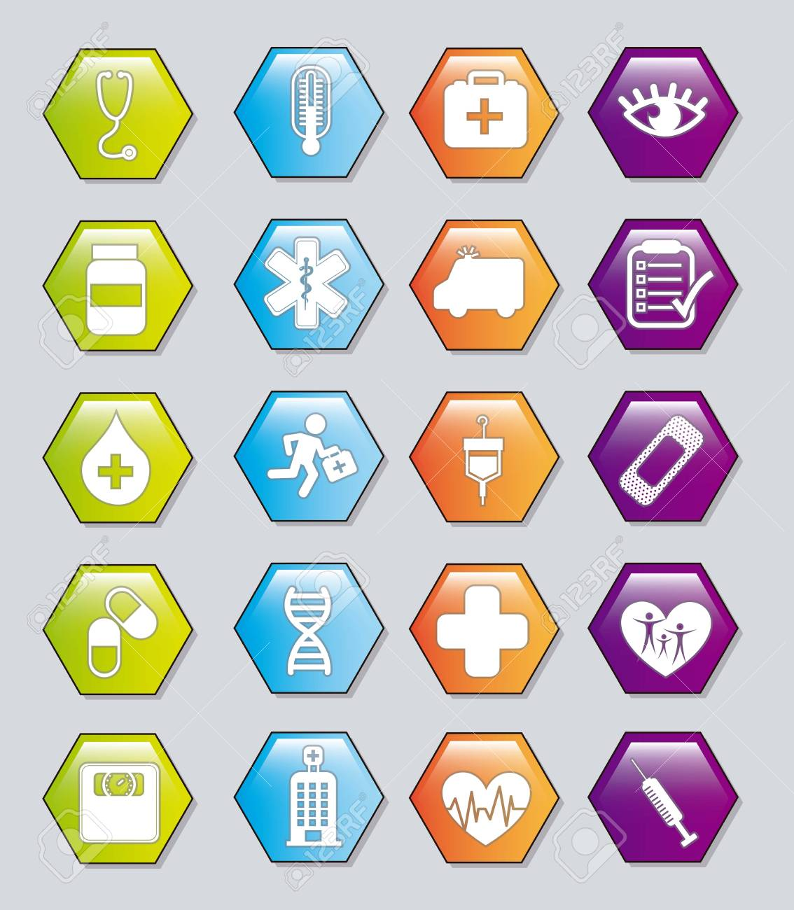 medical icons over gray background. vector illustration Stock Vector - 16997542