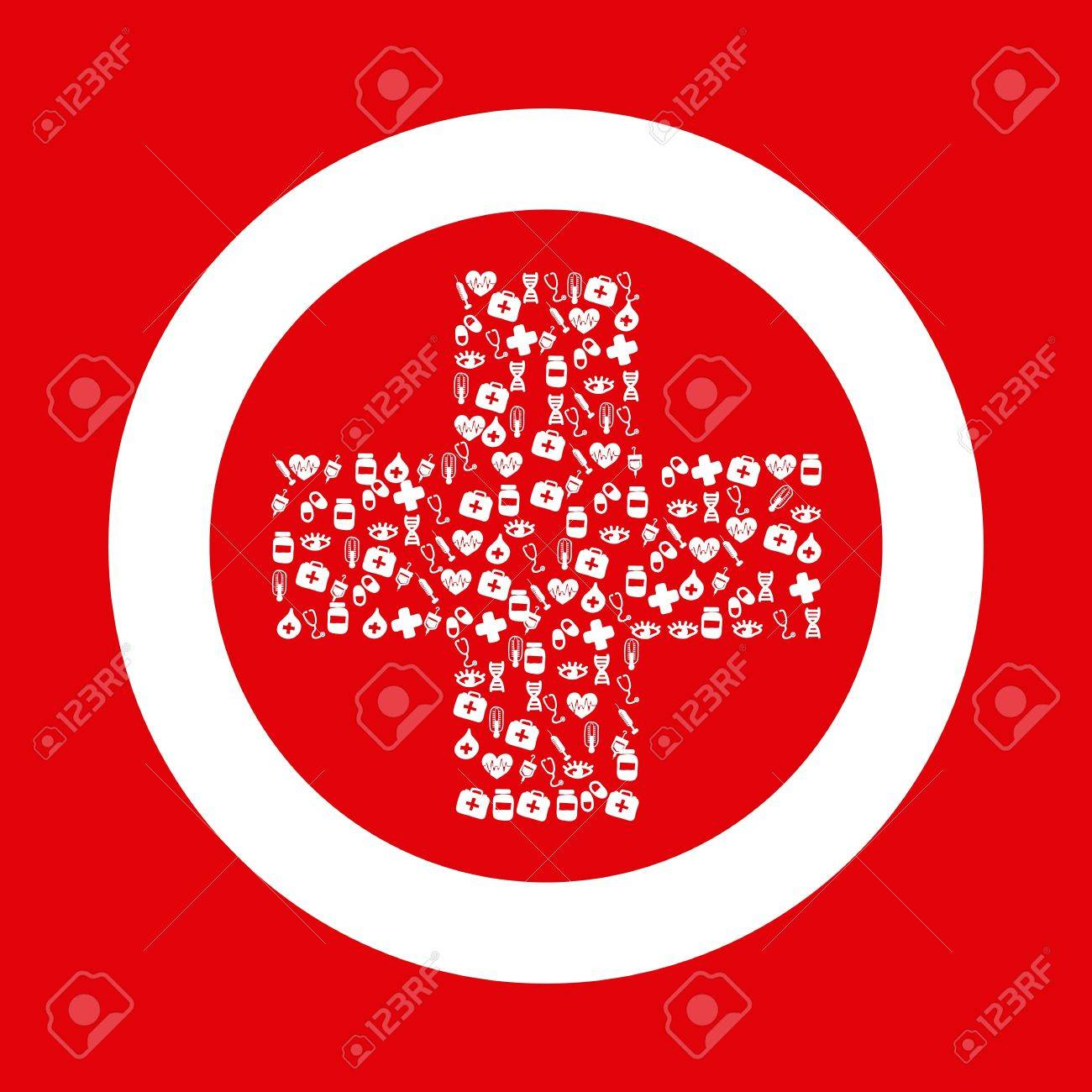 medical sign with cross over red background. vector Stock Vector - 16997404