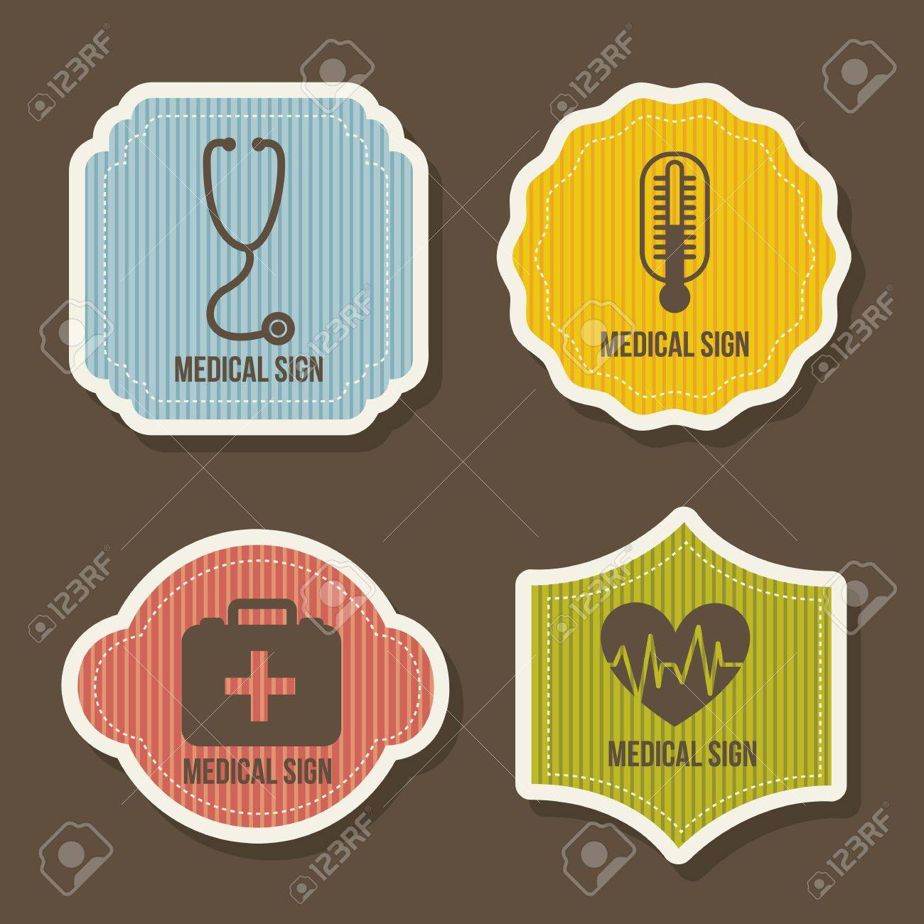 medical icons over brown background. vector illustration Stock Vector - 16996945