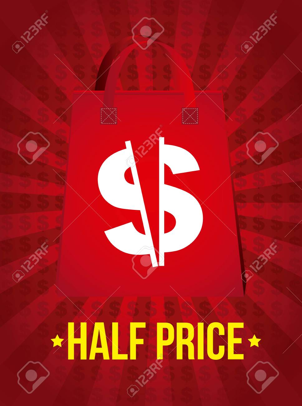 half price announcement over red background. vector illustration Stock Vector - 16997700