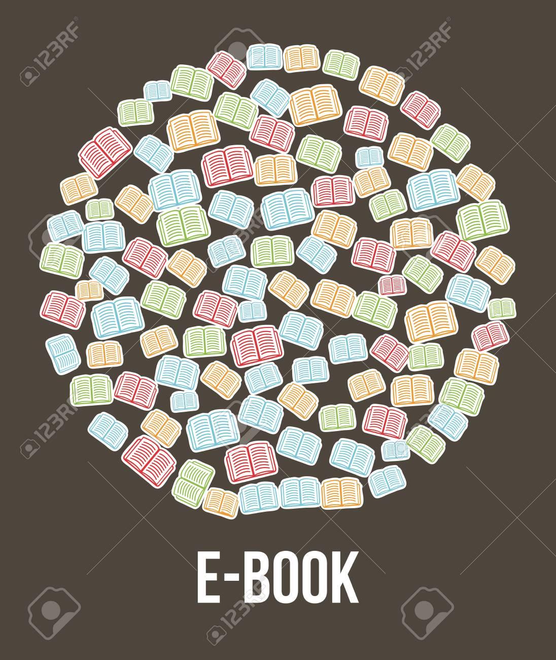 e book button brown background. vector illustration Stock Vector - 16997552