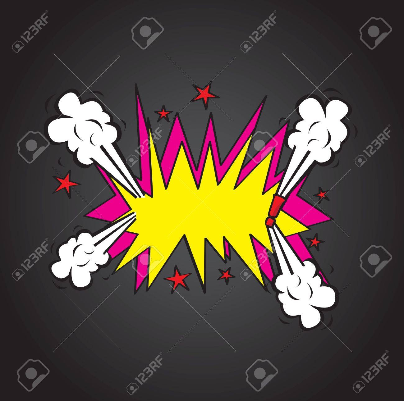 Explosion comic cloud over  black background vector illustration Stock Vector - 17349158