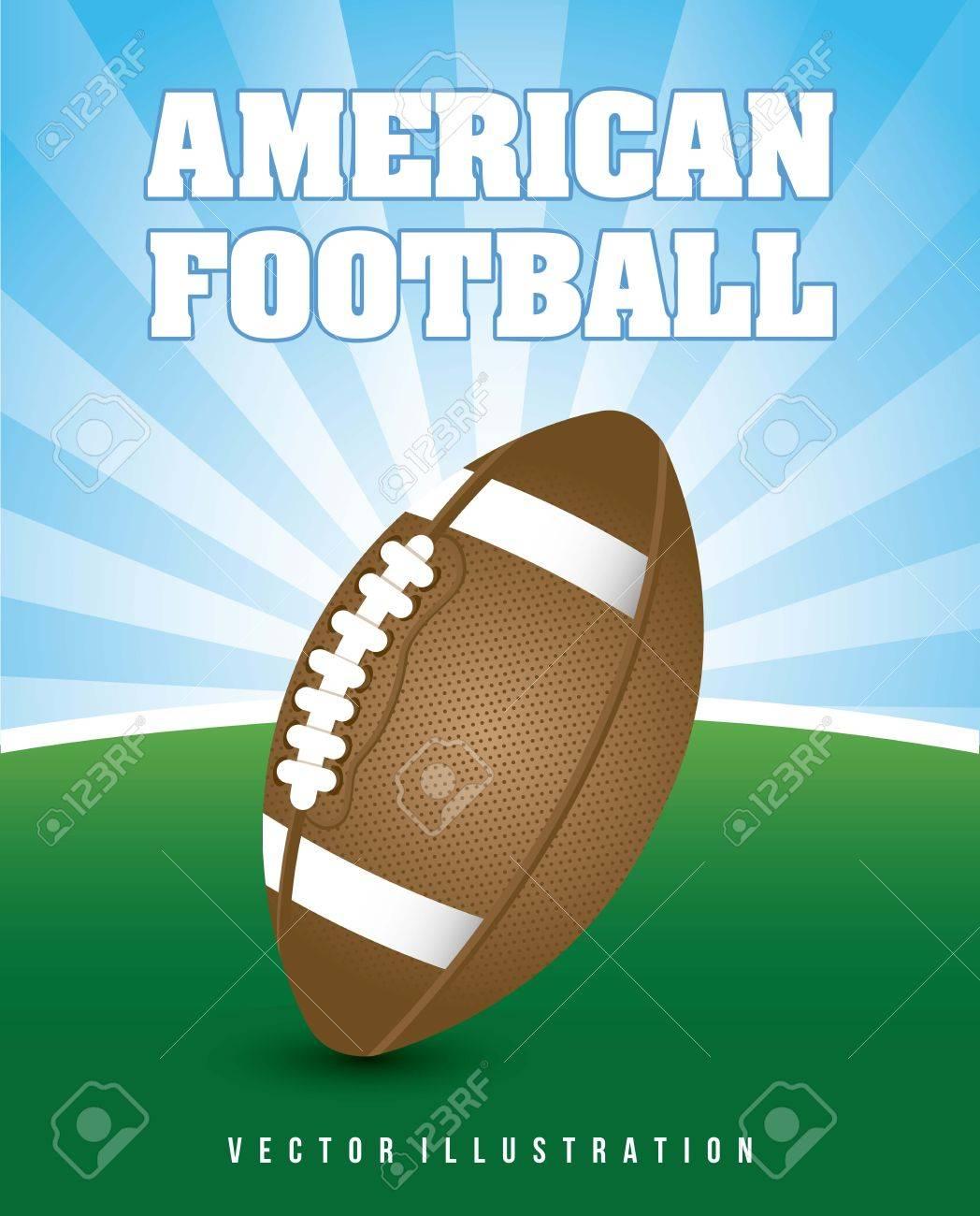 american football over landscape background. vector illustration Stock Vector - 17349525