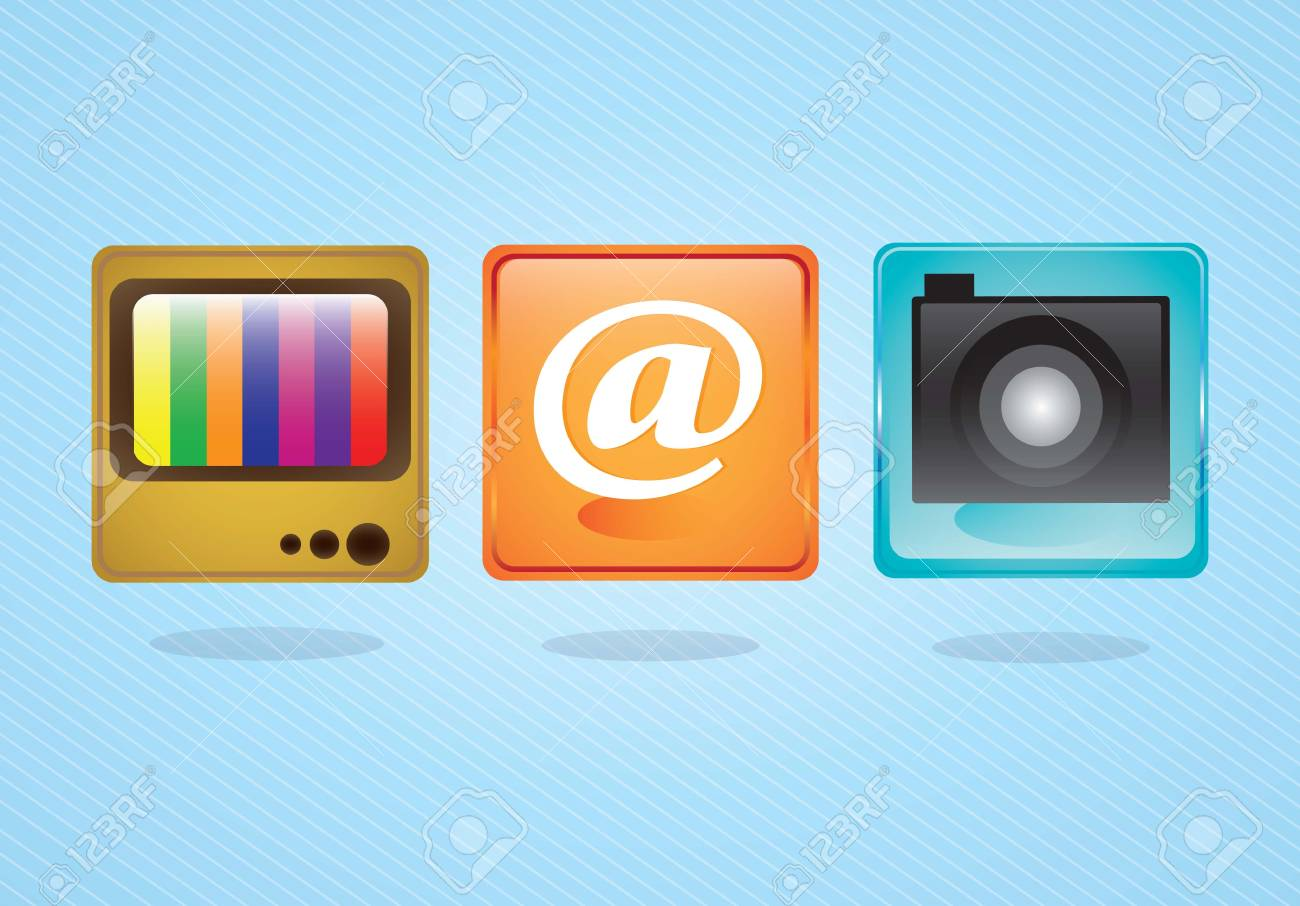 E-mail icons,  camera application and tv on blue background. Vector illustration Stock Vector - 17349220