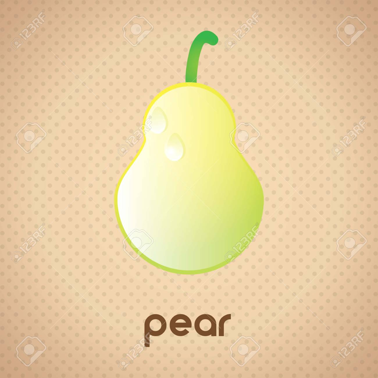 Pear Glossy fruit with raindrops, on vintage background Stock Vector - 17349167