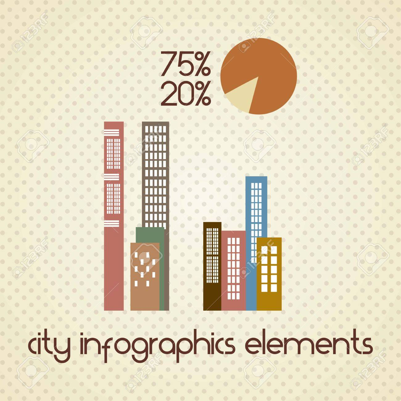 Buildings for city infographics elements. On vintage background Stock Vector - 17349140