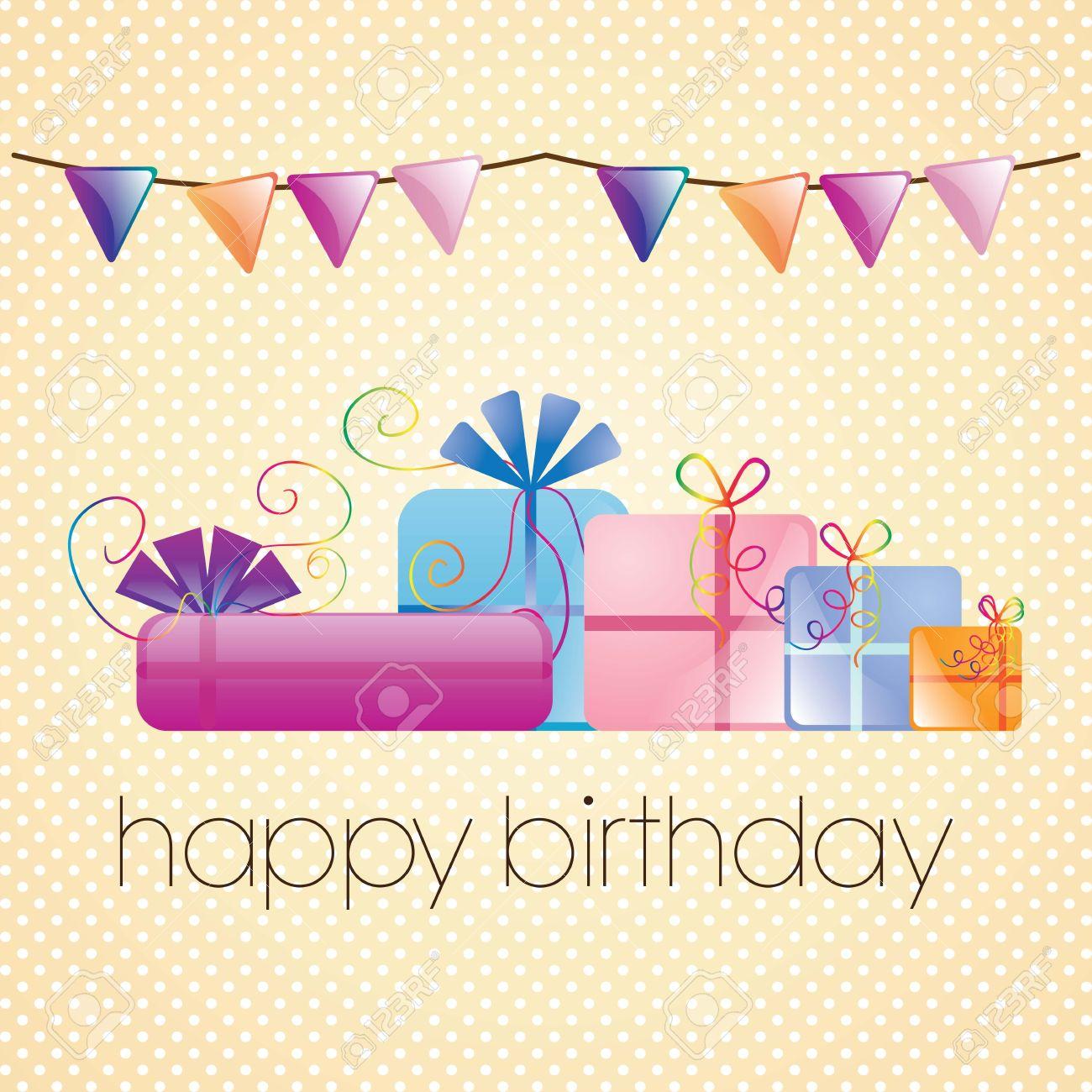 Happy Birthday Card Mit Schonen Geschenken Auf Vintage Hintergrund Standard Bild