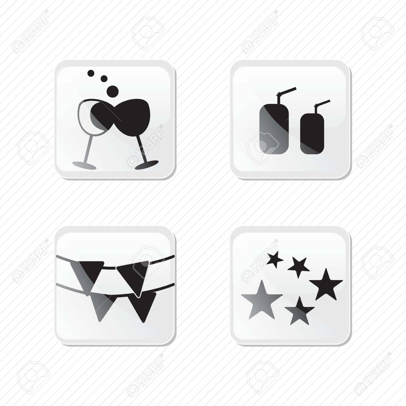 Birthday glass effect icons silhouettes, driks, stars, cup of wine.Vector illustration Stock Vector - 17350649