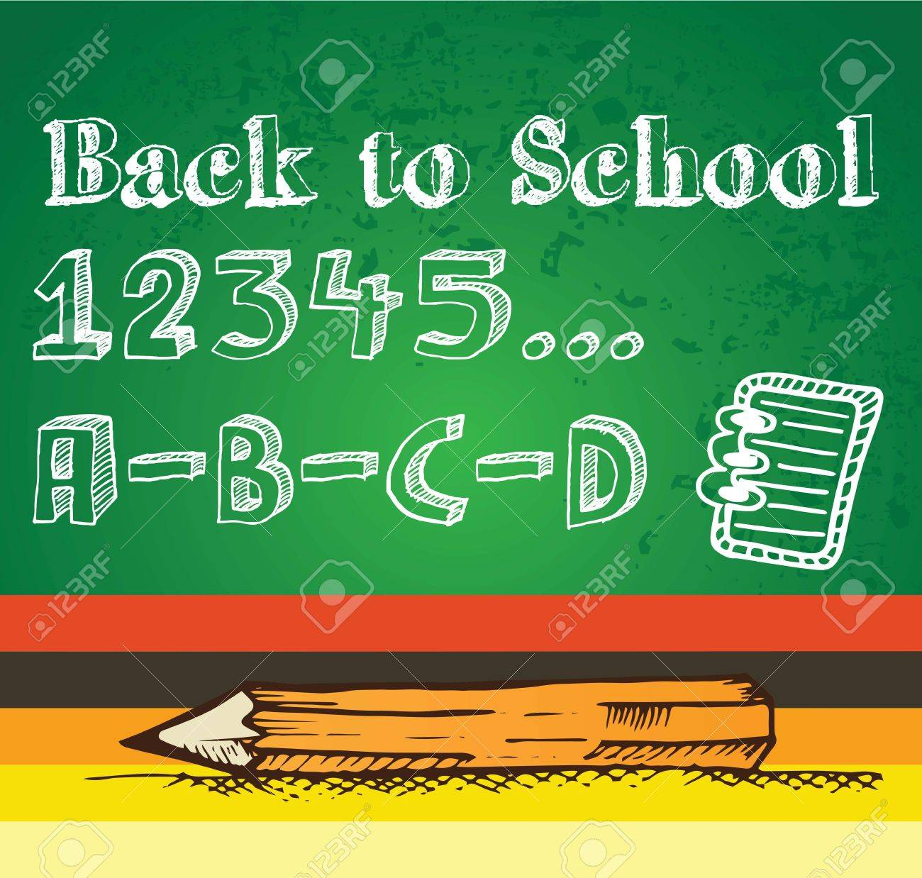 Chalkboard with numbers and pencil. Vector illustration Stock Vector - 17351119