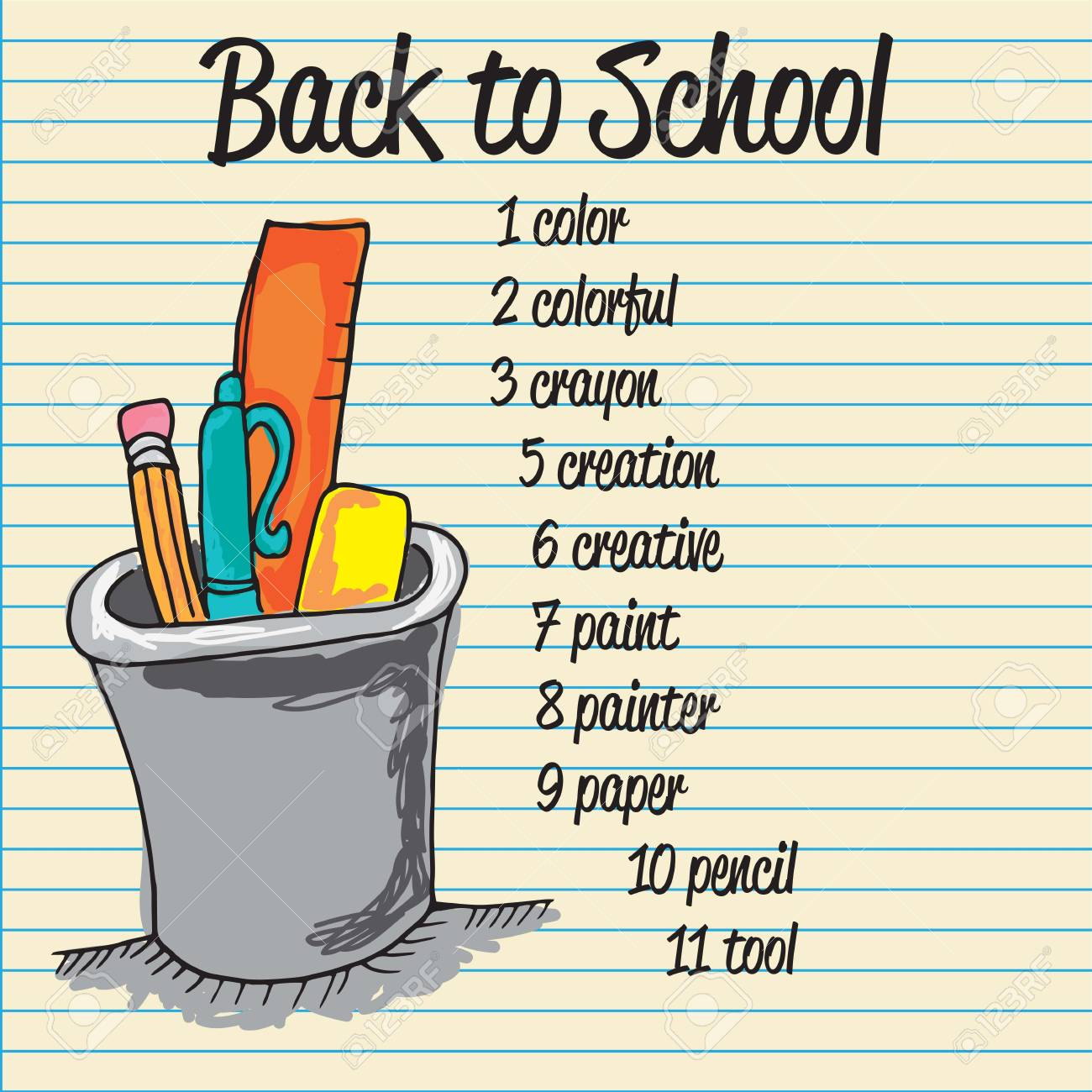 back to school icons over paper background Stock Vector - 17350657