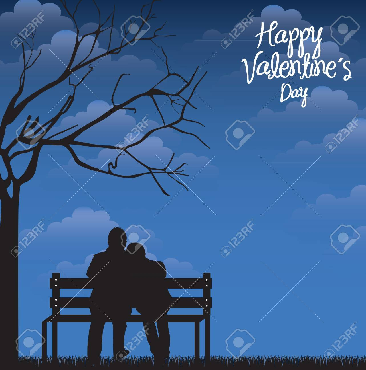 Card love with a couple in the nigth over sky background Stock Vector - 17428105