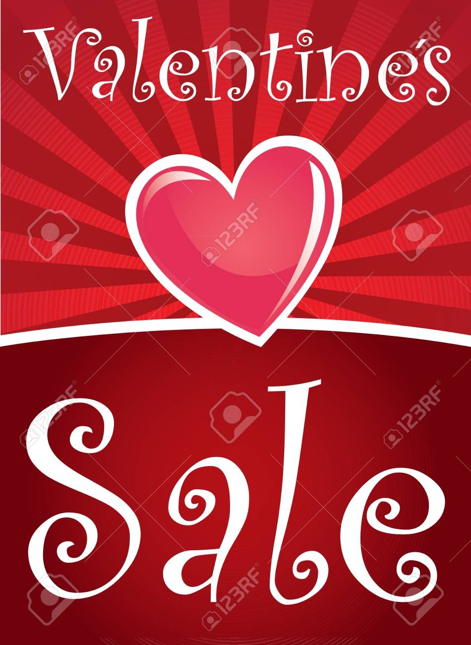 valentines sale with a heart over red background Stock Vector - 17427830