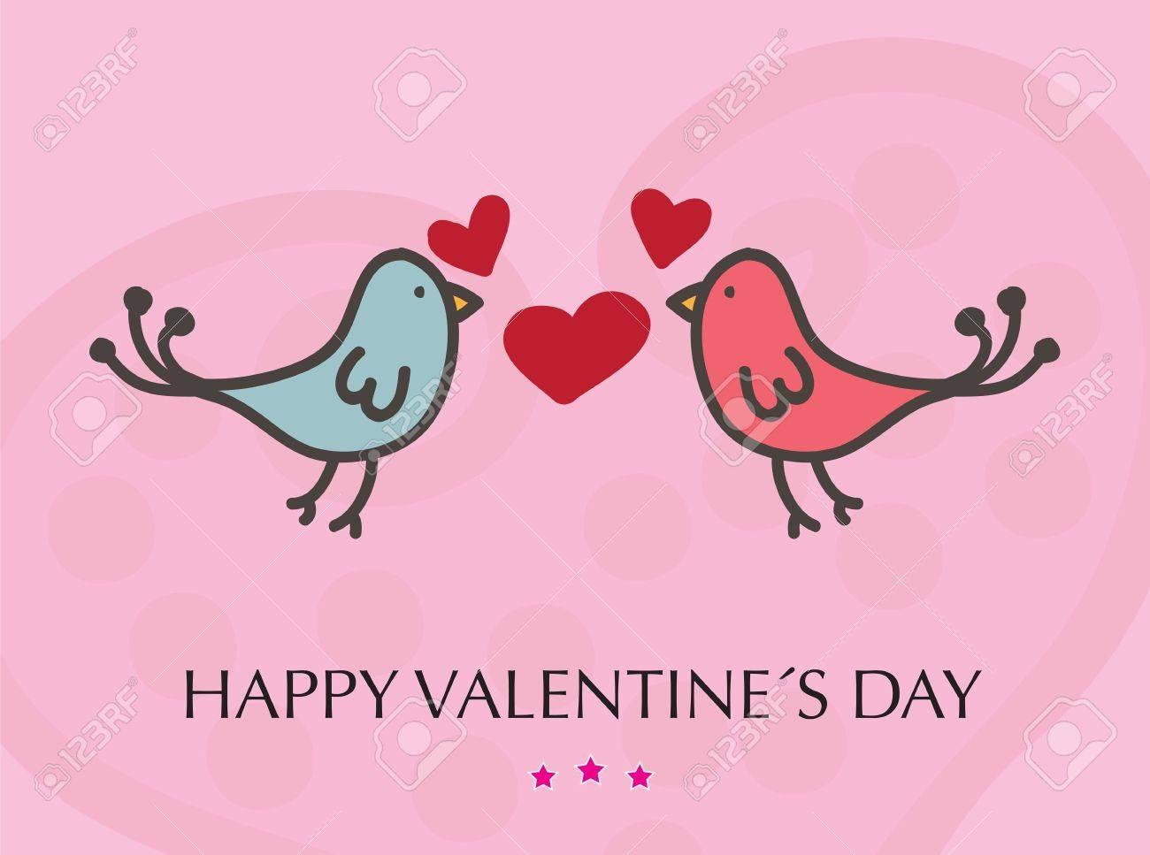 Valentinstag Karte Mit Ein Paar Kussen Vogel Vektor Illustration