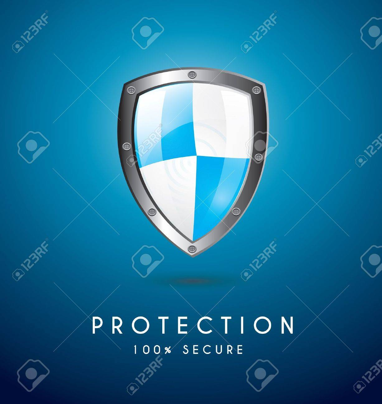 Protection icon over blue background vector illustration Stock Vector - 17428098