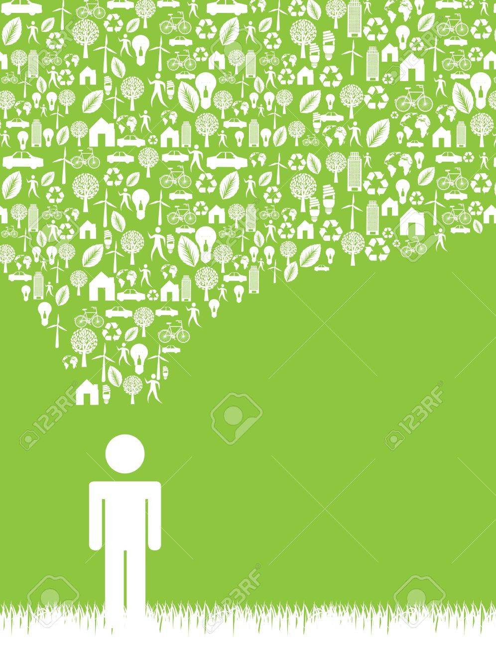Think green icon over green background vector illustration Stock Vector - 17428371