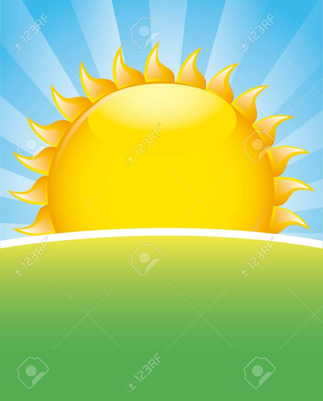 landscape with sun and grass. vector illustration Stock Vector - 17428344