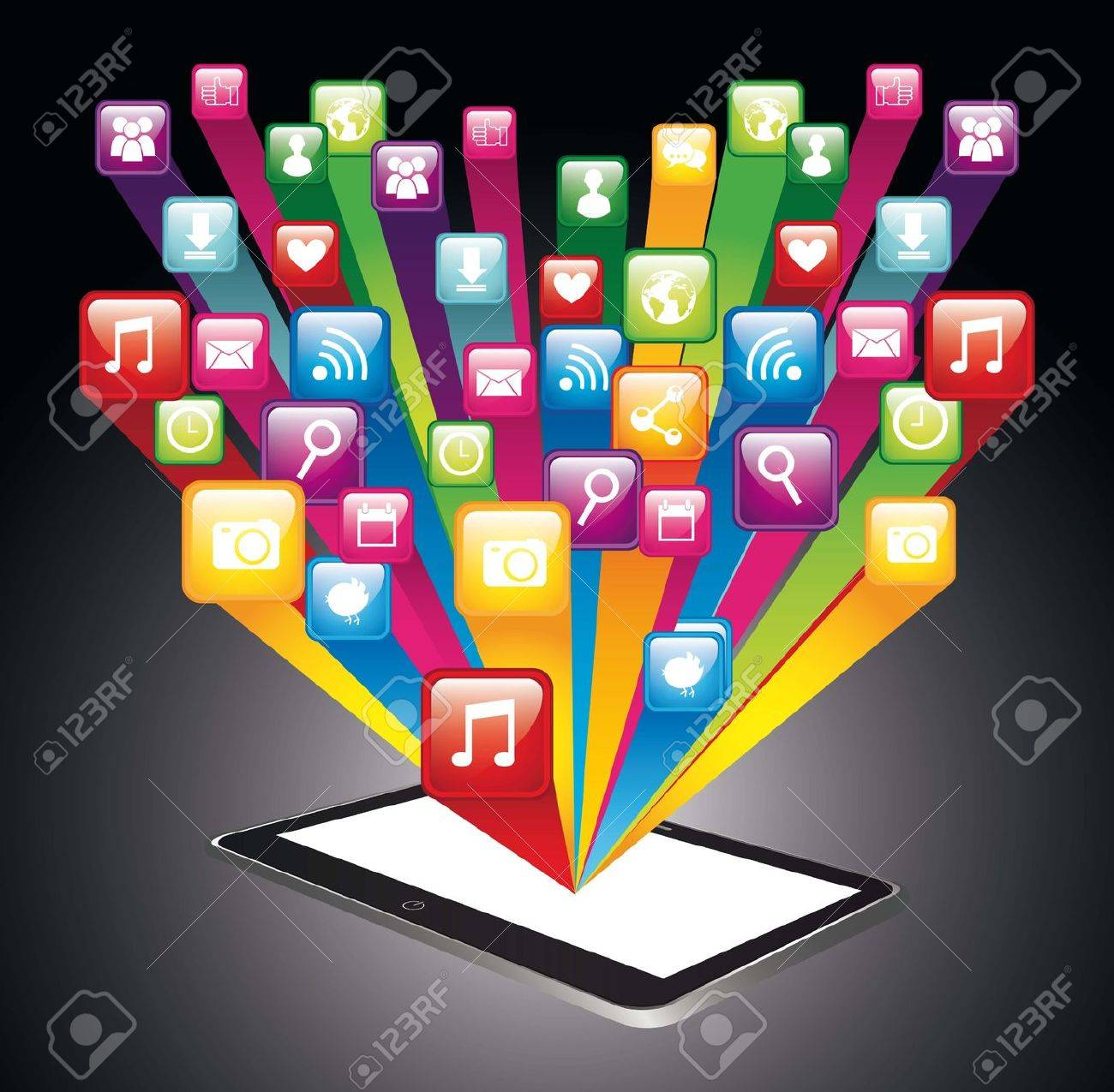 colorful app store with cellphone. vector illustration Stock Vector - 17564905
