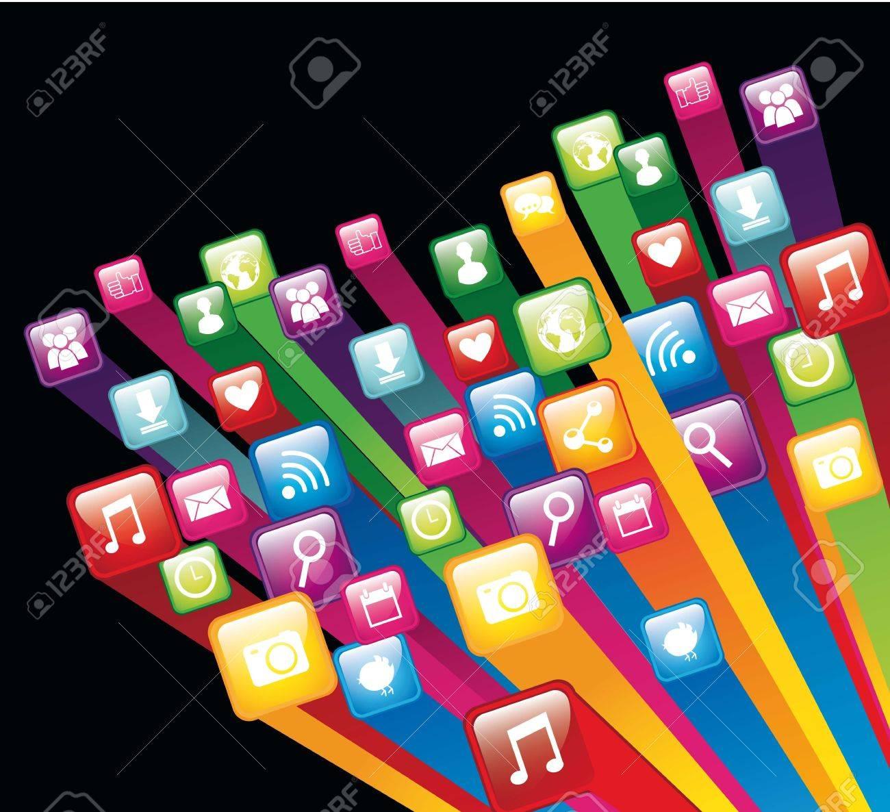 Colorful App Store Over Black Background. Vector Illustration ...