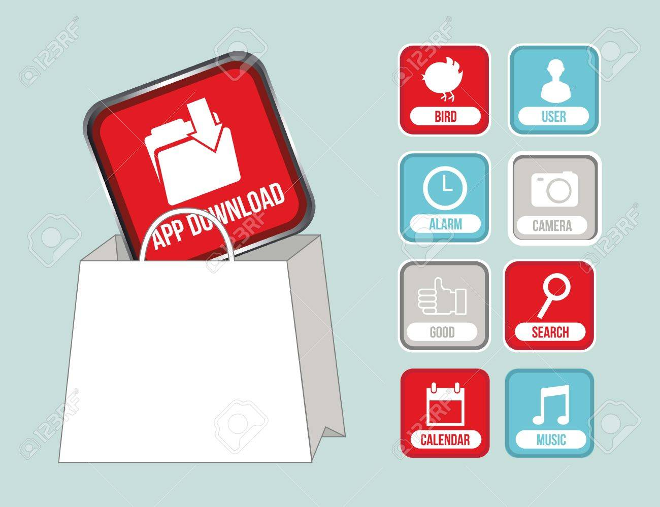 Apps With Shopping Bag, App Store. Vector Illustration Royalty ...