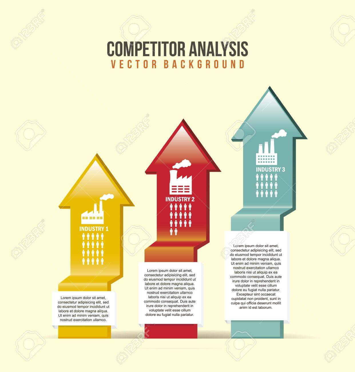 competitor analysis illustration with arrows. vector background Stock Vector - 17564909