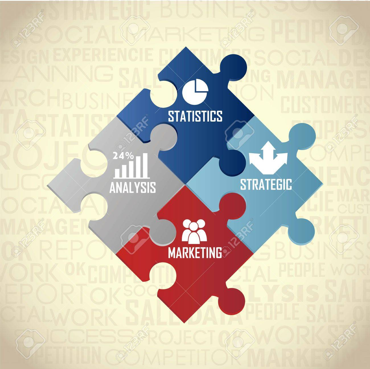 competitor analysis illustration with puzzles, vintage. vector Stock Vector - 17564771