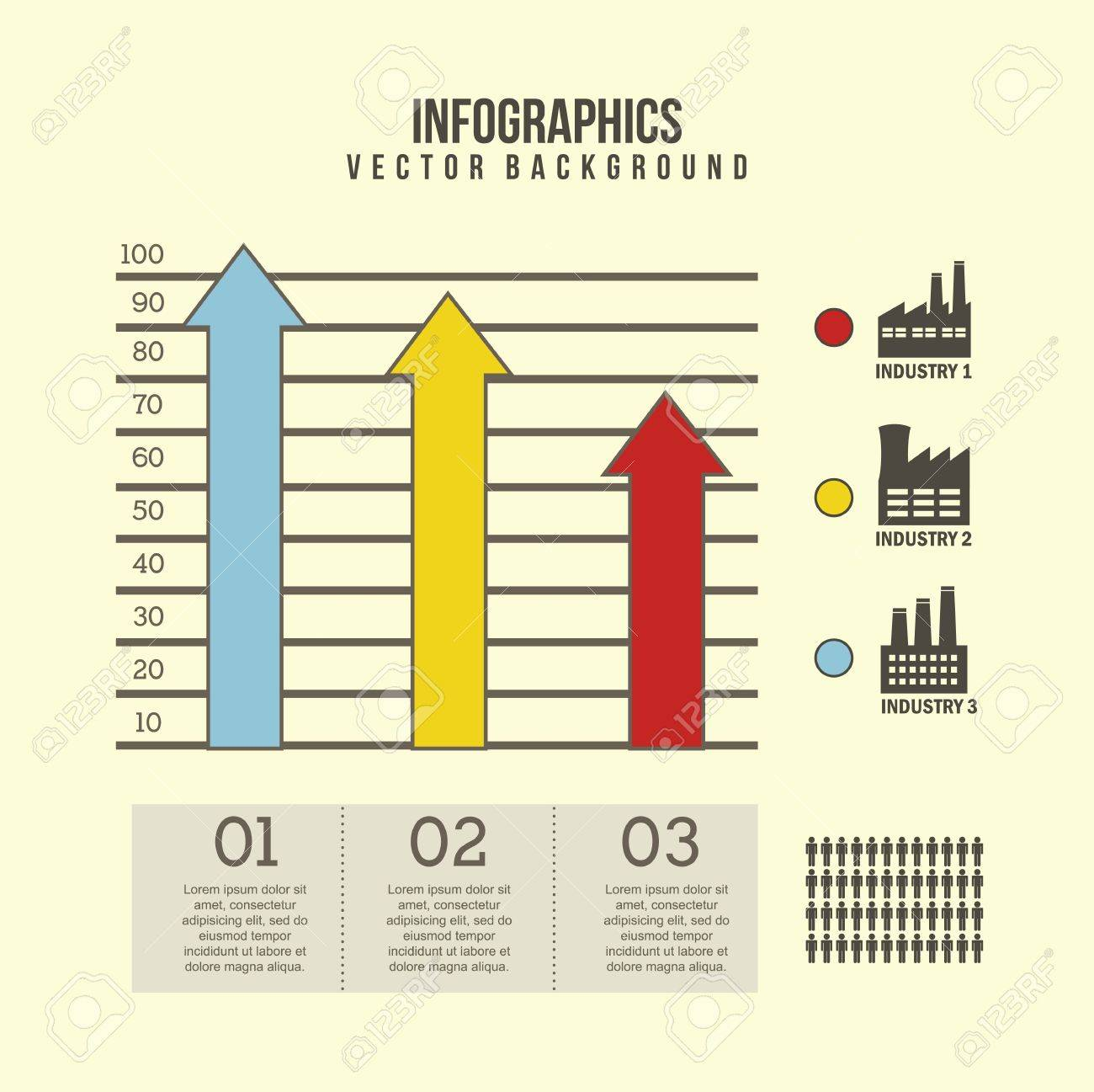 competitor analysis illustration with arrows. vector background Stock Vector - 17564763