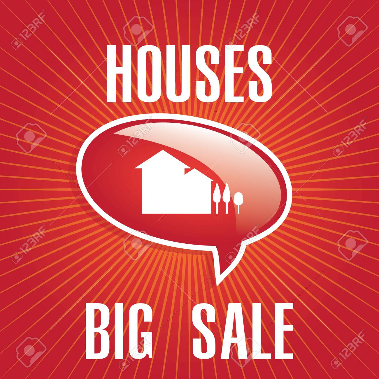 big sale houses announcement over red background. vector Stock Vector - 17623103