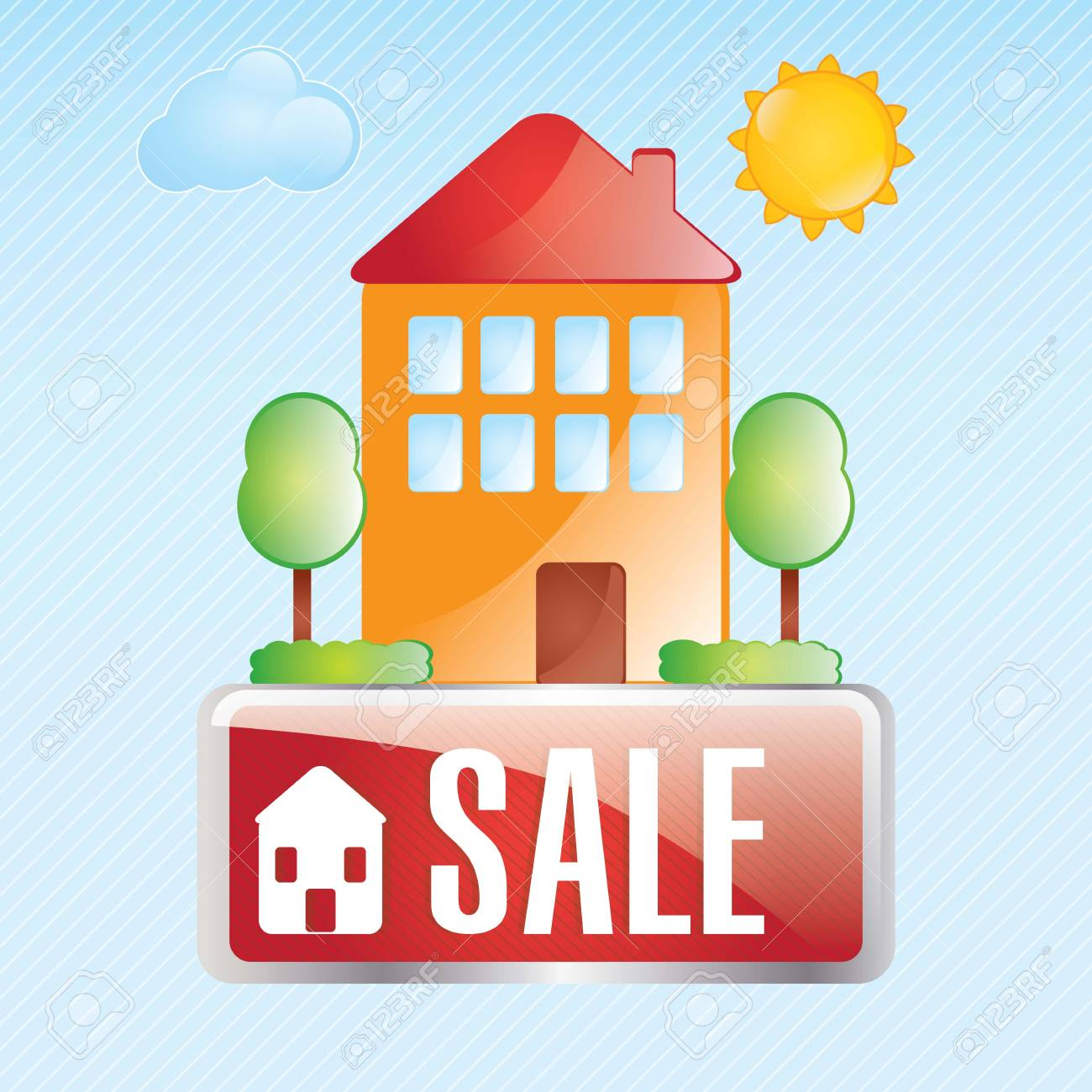 Home for sale  over blue background. vector illustration Stock Vector - 17623232