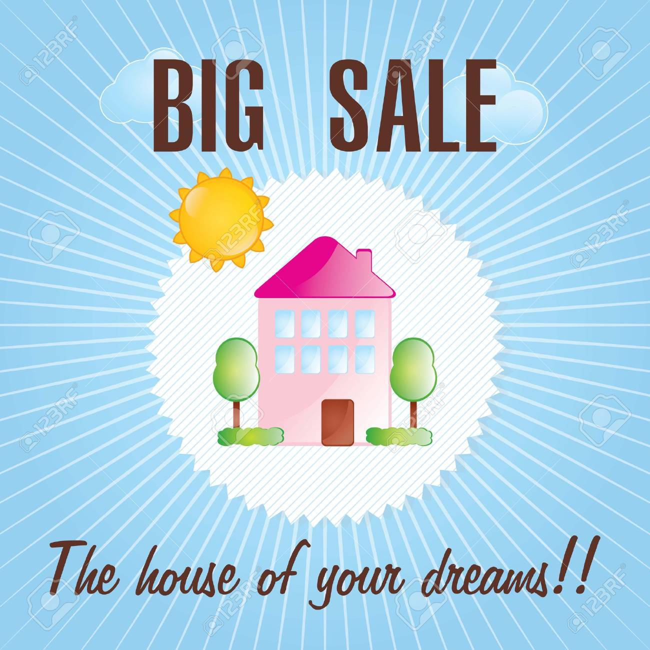 Home for sale  over blue background. vector illustration Stock Vector - 17623226