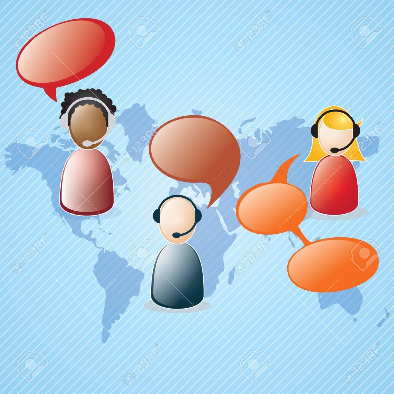 Customer service agent  on blue background, vector illustration Stock Vector - 17623140
