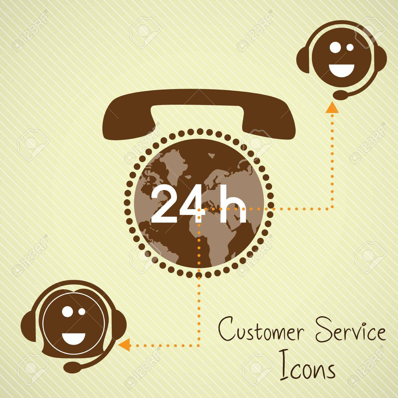 Customer service operators (24, hours) with headset and planet Stock Vector - 17623080
