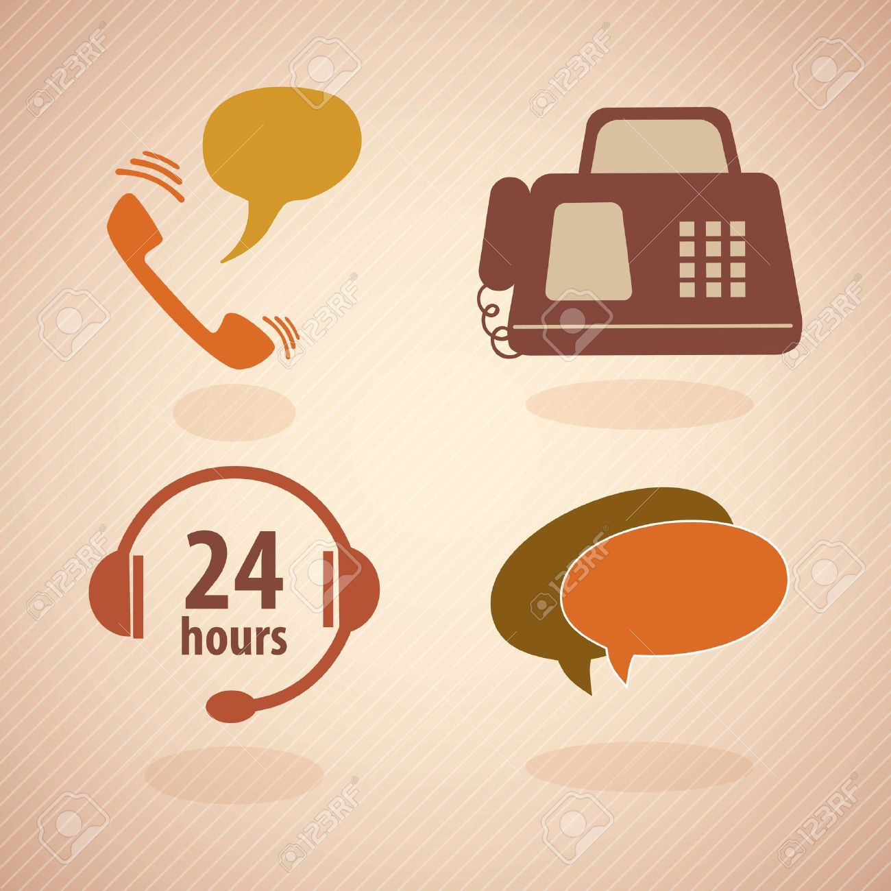 Customer Service Vintage Icons.With Reto Colors. Vector Royalty ...