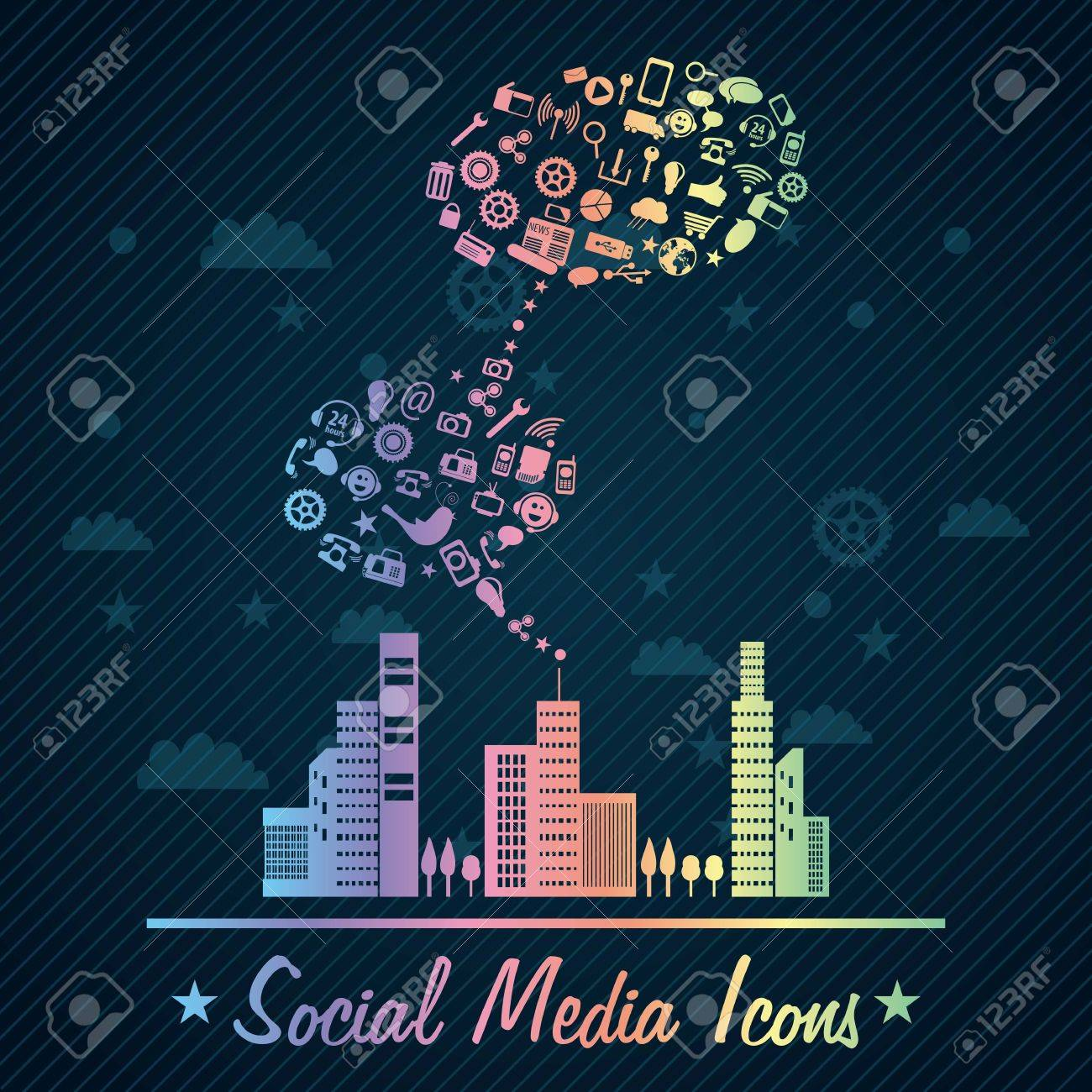 Colorful Social Media concept with city (icons set), on dark  background. Stock Vector - 17623160