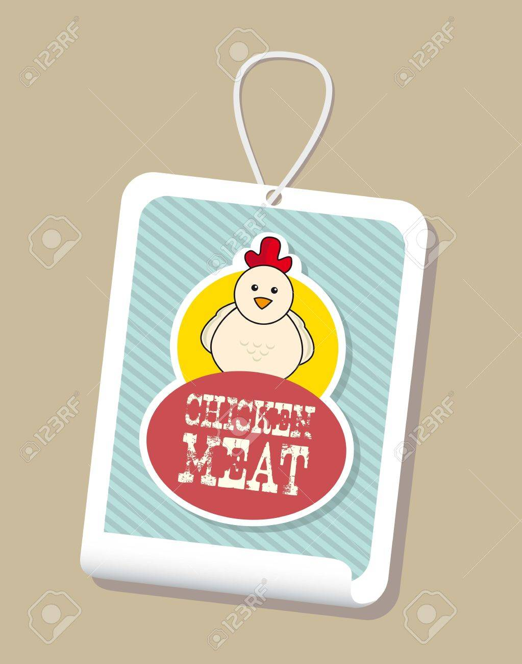 chicken label over brown background. vector illustration Stock Vector - 17677520