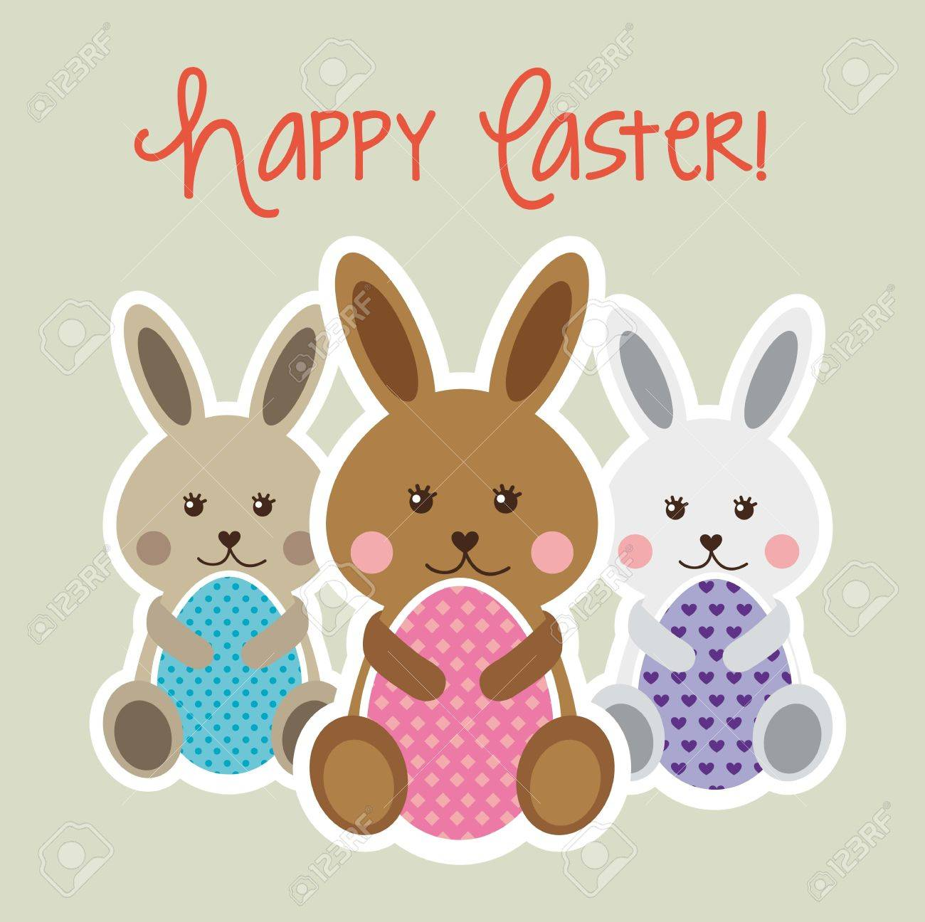 Happy Easter Card With Rabbit And Egg Vector Illustration Royalty – Happy Easter Card