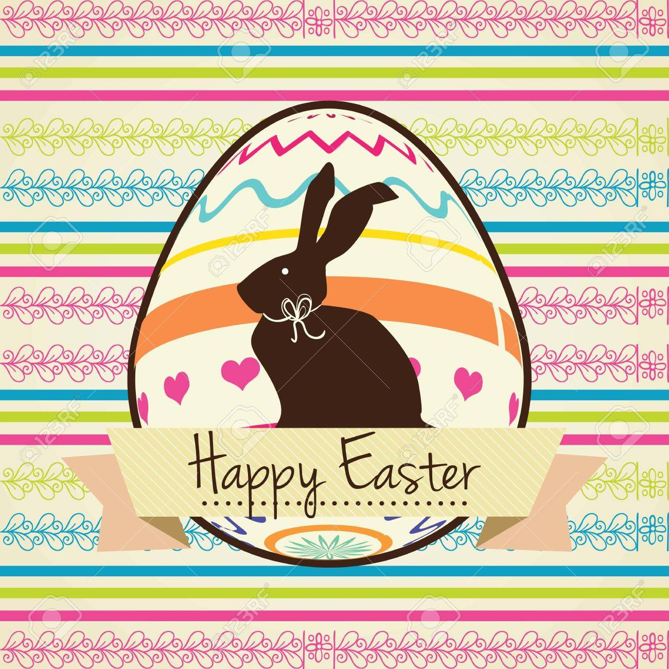 Colorful Happy Easter Card with bunny. Vector illustration. Stock Vector - 17734427