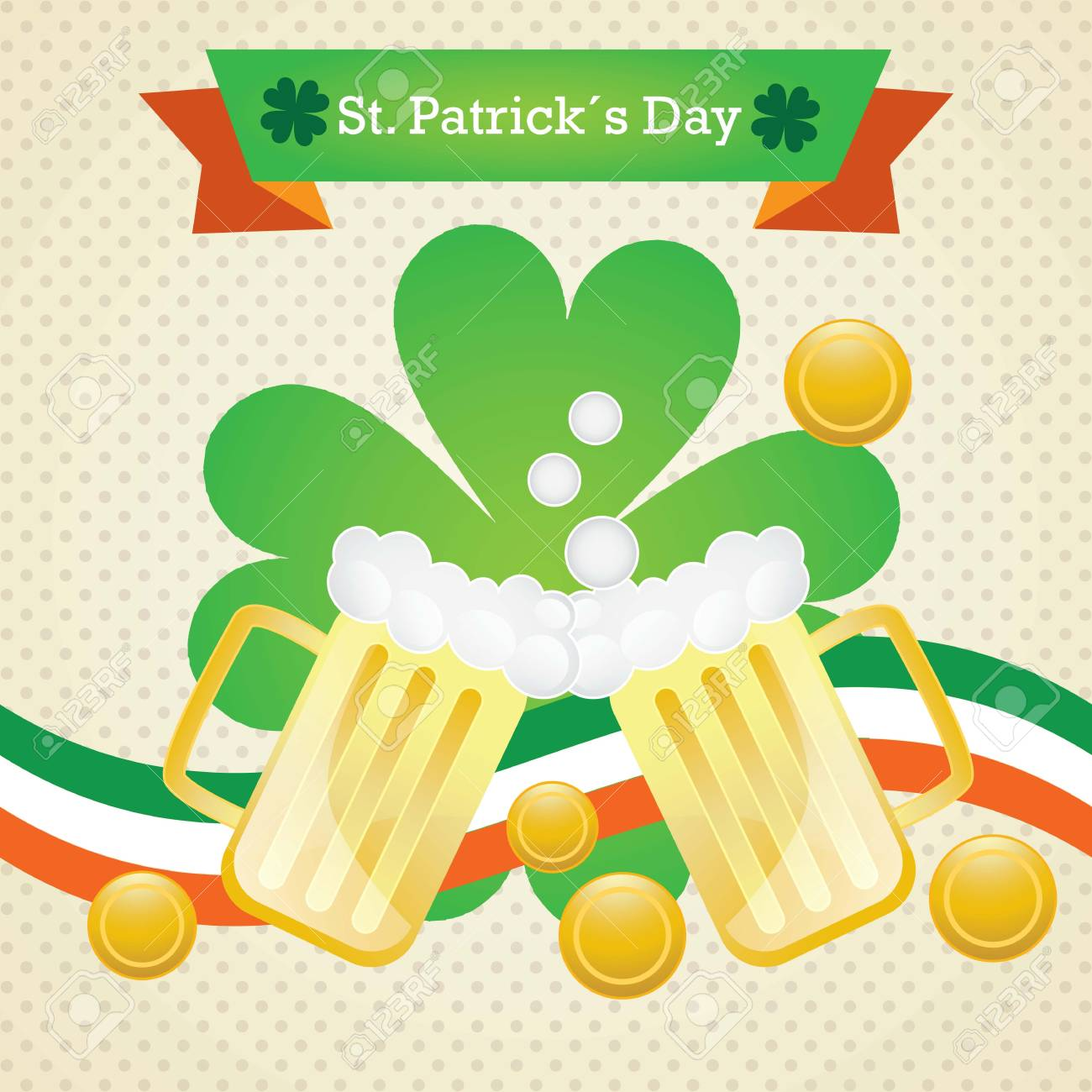St Patrick�s Day elements on vintage background. (Money and beers) Stock Vector - 17734325
